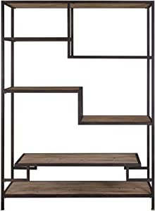 MY SWANKY HOME Extra Large Staggered Shelf Etagere | Book Shelves Open Industrial Wood Metal