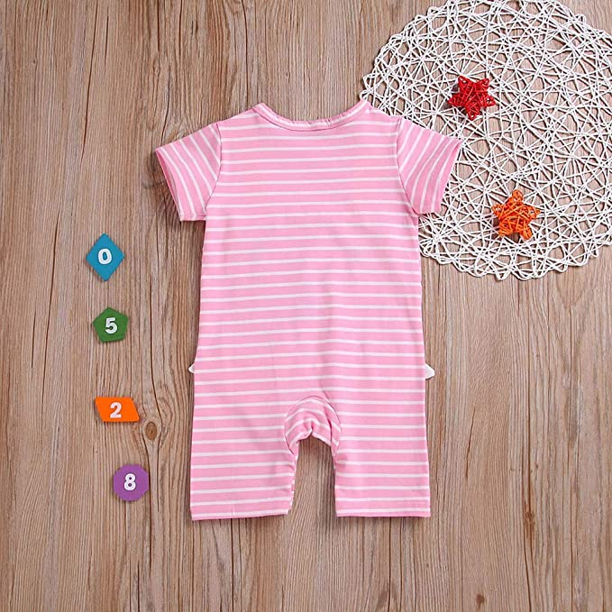 8cf5a3a6556 Amazon.com  Lookvv Kid Toddler Baby Girl Boy Summer Pajamas Rabbit and  Striped Print Short Sleeve Romper Jumpsuit  Clothing