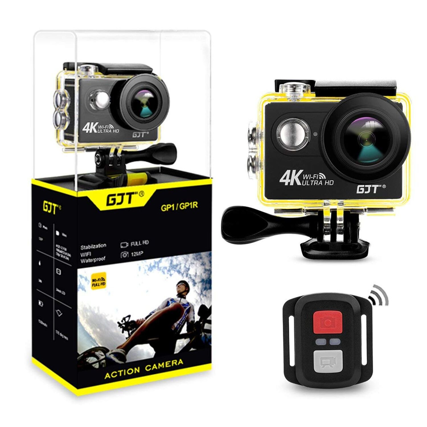 GJT GP1R 4K 25FPS Sports Action Camera with 18 Accessories,WiFi 12MP Ultra HD Camera 30M Waterproof,2 Inch LCD Screen DV Camcorder, 170 Degree Wide Angle Lens,with Remote Control, 2x1350mAh Batteries