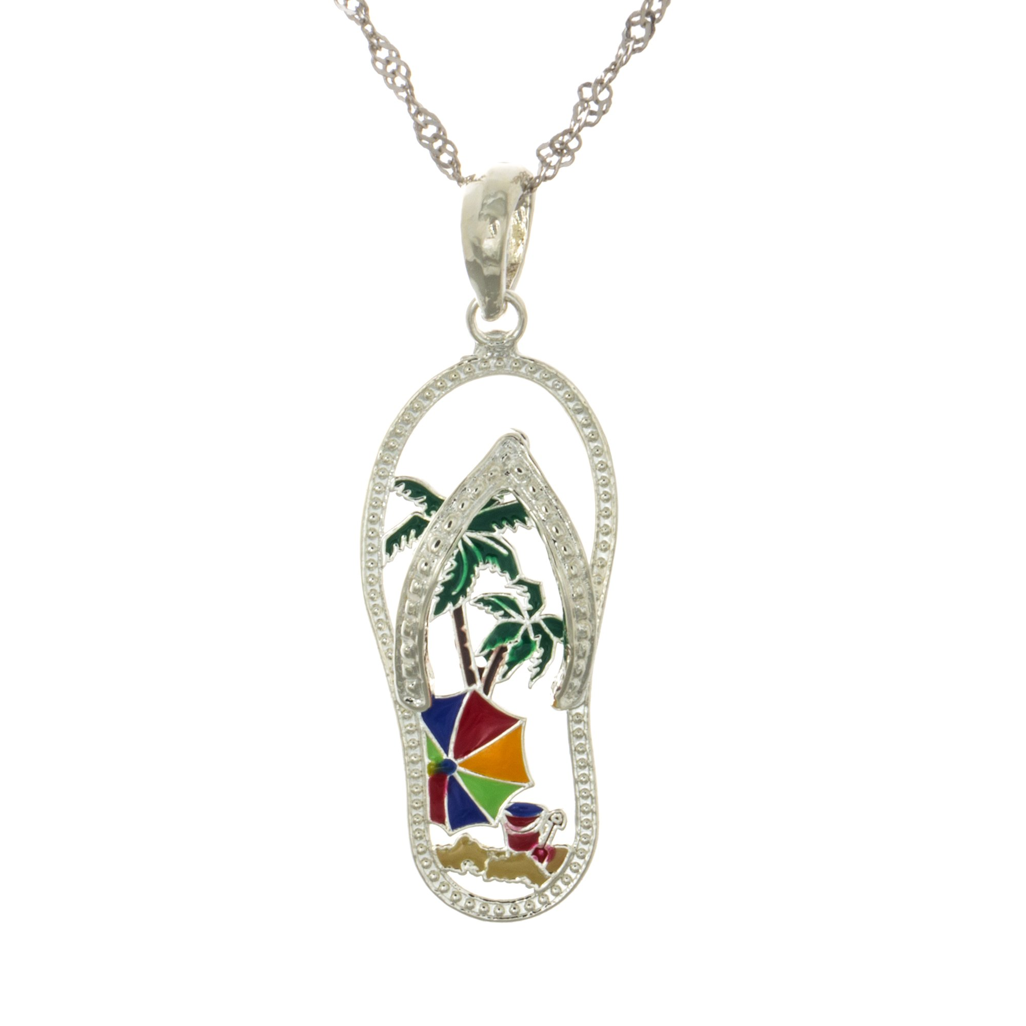925 Sterling Silver Flip-Flop Necklace Charm Pendant with Chain, Beach Scene Palm Tree Cut-out, Enamel