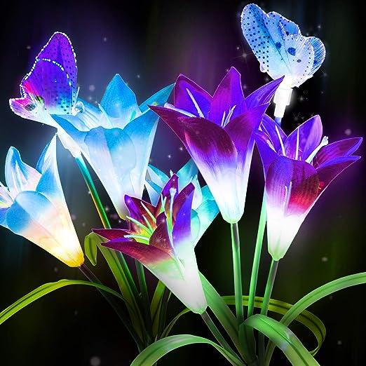 Solar Powered 4 Lily Flower LED Lights Garden Patio  Lamp Decor White light