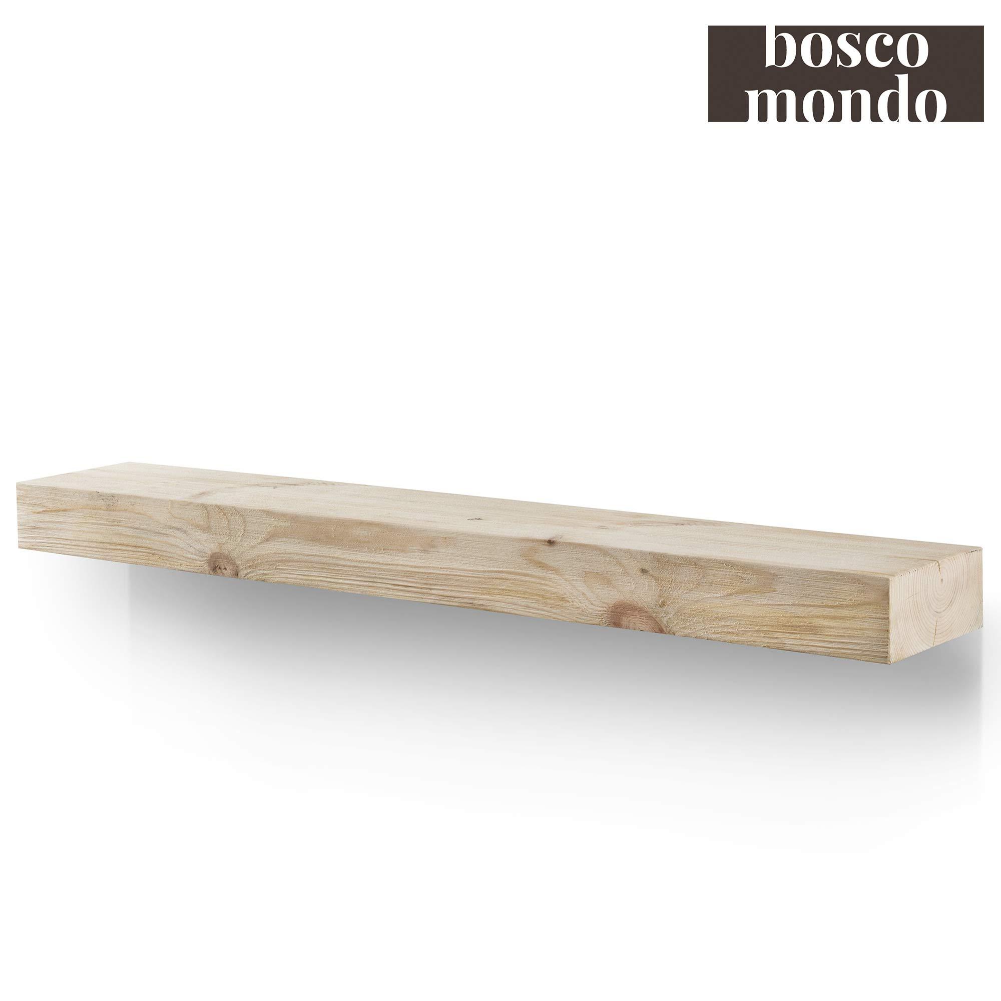 BoscoMondo Rustic Fireplace Mantel Floating Shelf - 72'' X 7'' X 3'' Solid Pine Wood - Wall Decor, Mounted Farmhouse Shelving - Invisible Heavy Duty Bracket (Unfinished, 72'') by BoscoMondo