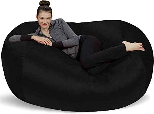 Sofa Sack – Plush Bean Bag Sofas with Super Soft Microsuede Cover – XL Memory Foam Stuffed Lounger Chairs for Kids, Adults, Couples – Jumbo Bean Bag Chair Furniture – Black 6