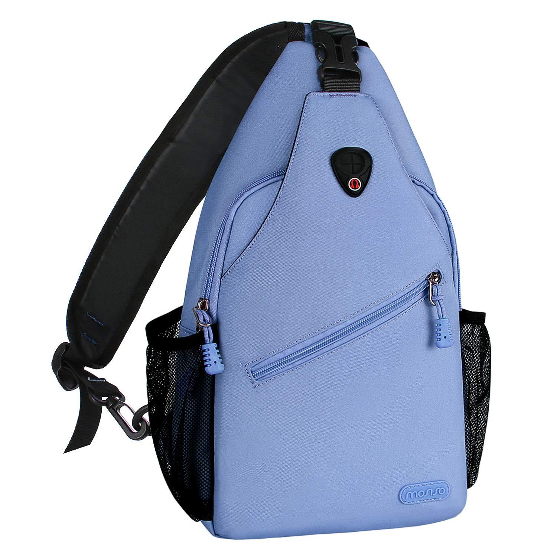 MOSISO Sling Backpack, Multipurpose Crossbody Shoulder Bag Travel Hiking Daypack, Airy Blue