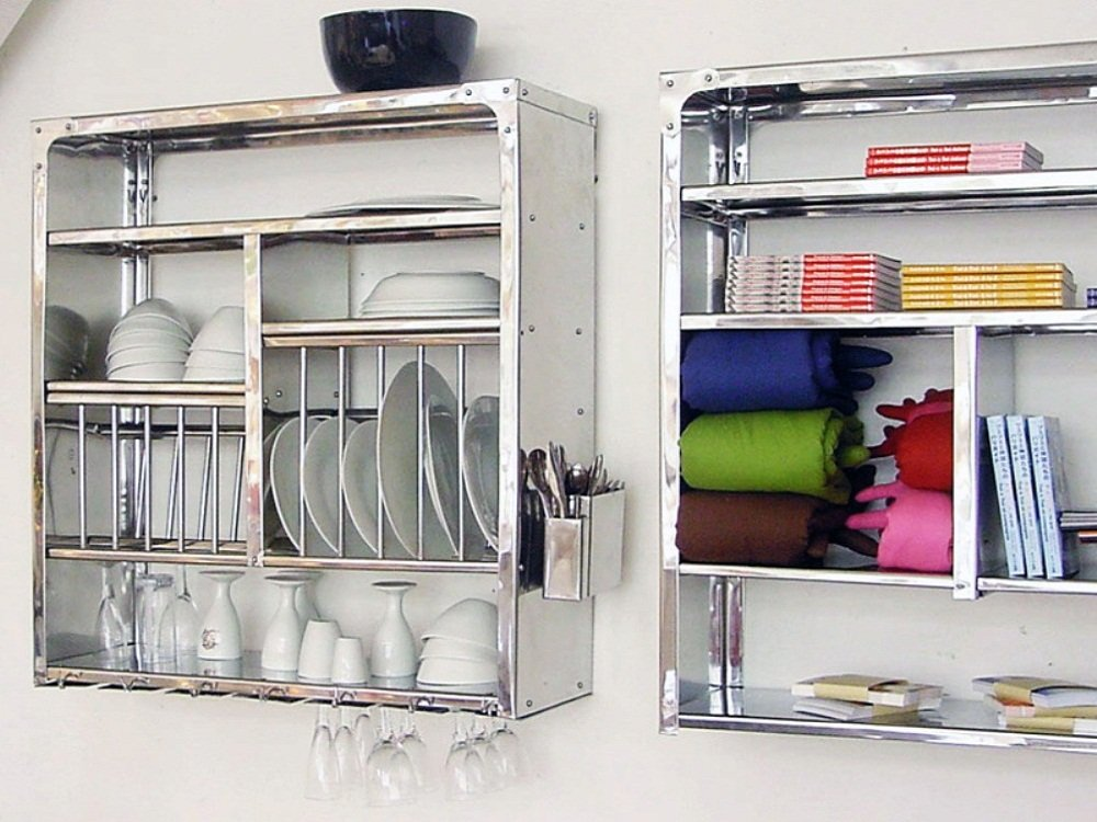 Dish Drying Display Rack Stainless Steel Hand Made - Wall Hanging (76x24x76 Cm) by RBJ
