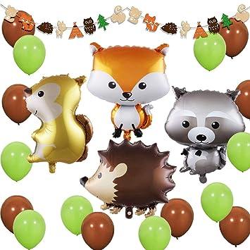 JOYMEMO Woodland Creatures - Bosque Decoraciones de Animales de Fiesta Woodland Creatures Globos y guirnaldas para Baby Shower, Decoraciones de ...