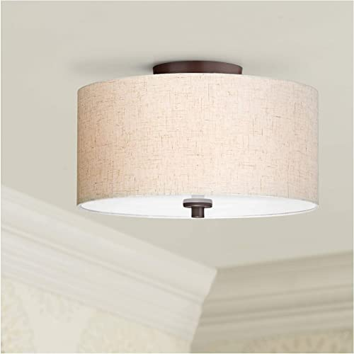 Sylvan Modern Ceiling Light Semi Flush Mount Fixture Bronze 14 Wide Off White Fabric Drum Shade Acrylic Diffuser for Bedroom Kitchen Living Room Hallway Bathroom – Regency Hill