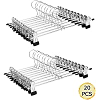 "Aizhy Trouser Hanger Strong Chrome Skirt Coat Hangers with Non-Slip Clips 28cm (11""),Pack of 20"