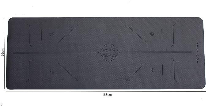 MaxDirect Esterilla Yoga con Sistema de Alineación del Cuerpo. Colchoneta Yoga Antideslizante y Ligera de Material Ecológico TPE, con Grosor de 6mm, ...