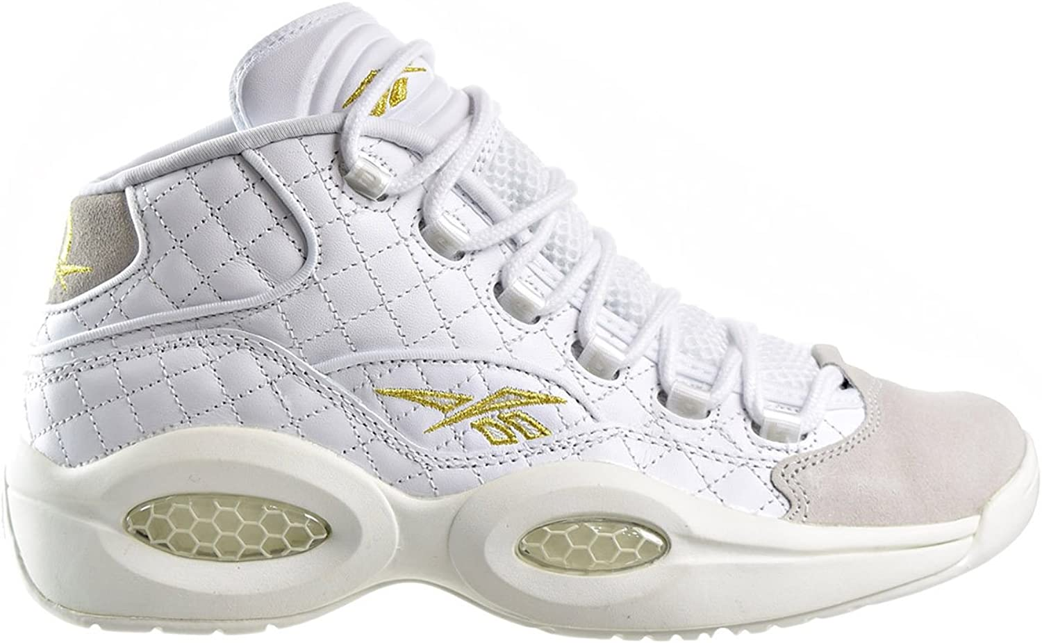 White//Chalk//Gold Met. Mens Shoes AR1710 Reebok Question Mid Quilted