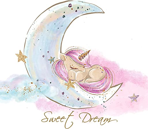 Little Deco Wandtattoo Wandaufkleber Wandsticker Einhörner Mond Sterne DL185
