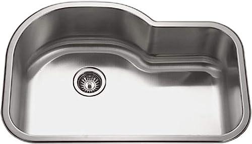 Houzer MH-3200 Medallion Gourmet Series Undermount Stainless Steel Offset Single Bowl Kitchen Sink