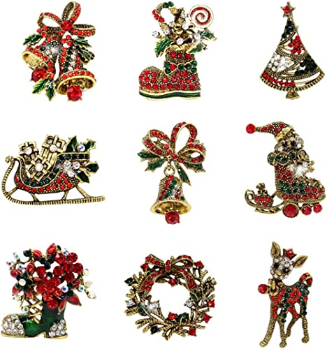 """12 Vintage CHRISTMAS Images ONE Inch Buttons 1/"""" Badges Pin Santa Snowman Holiday"""