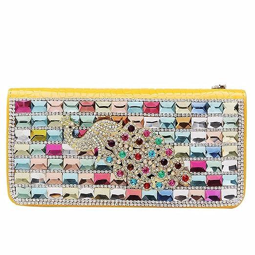 WITREE-Z Señoras bolso de mano, el muelle nuevo diamante, bolsa de dama moda bolso, teléfono móvil, amarilla en el mercado mayorista.: Amazon.es: Hogar