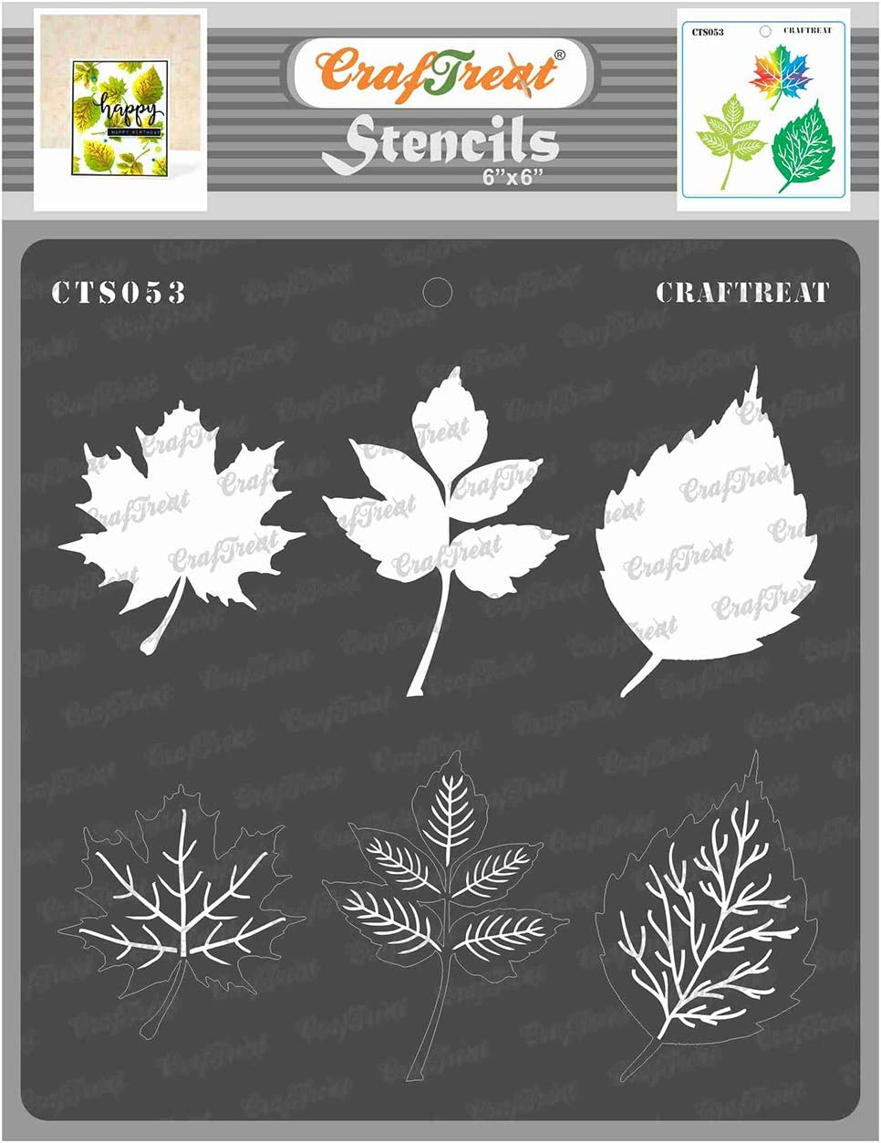 CrafTreat Layered Stencils for Painting on Wood, Canvas, Paper, Fabric, Floor, Wall and Tile - Leaves - 6x6 Inches - Reusable DIY Art and Craft Stencils for Painting Leaves - Stencil for Leaves