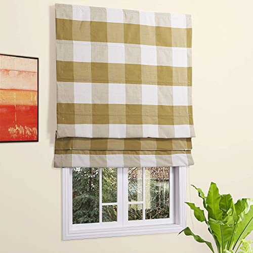 Artdix Roman Shades Blinds Window Shades – Yellow Plaid 67 W x 96L Inches Lined Blackout Cotton Thermal Fabric Custom Roman Shades for Windows, Doors, French Doors, Kitchen