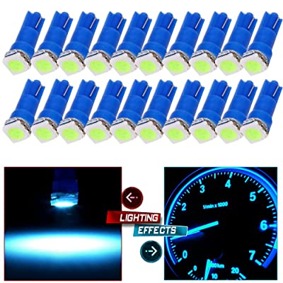 cciyu 20x Blue T5 Blue Dashboard Instrument Panel Instrument Speedometer Gauge Cluster 37 73 74 79 17 57 5050 1-SMD LED Light Bulb 12V (ice blue): Automotive