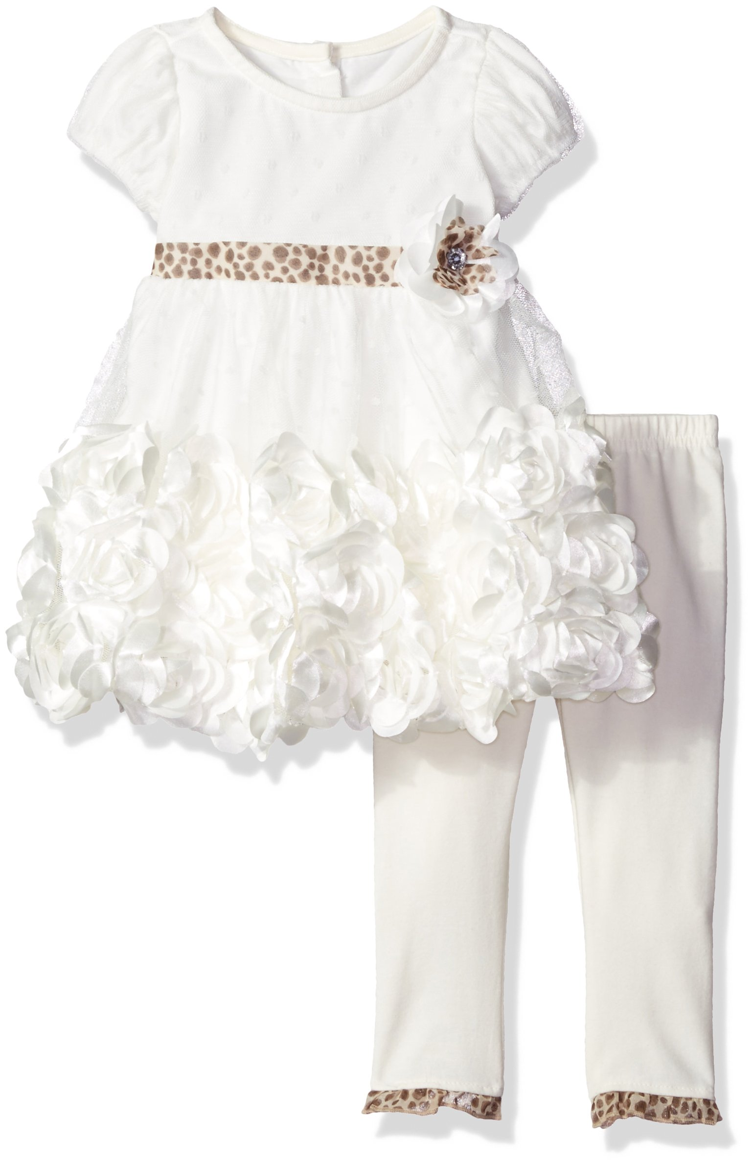 Nannette Baby Girls' 2 Piece Dress with Satin Rosette and Legging, Ivory, 24 Months