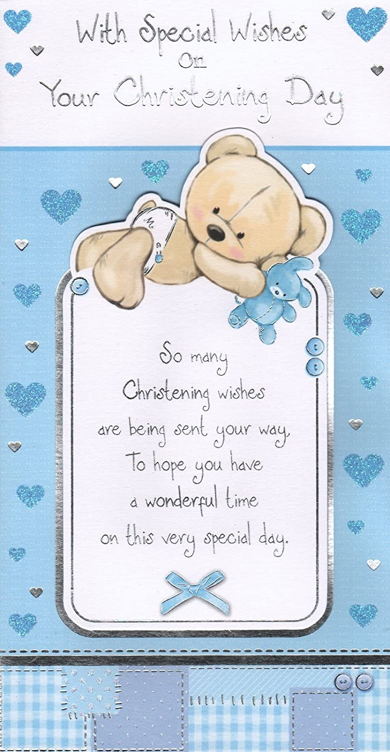 Boys christening day card with special wishes on your boys christening day card with special wishes on your christening day exquisite design amazon garden outdoors kristyandbryce Choice Image