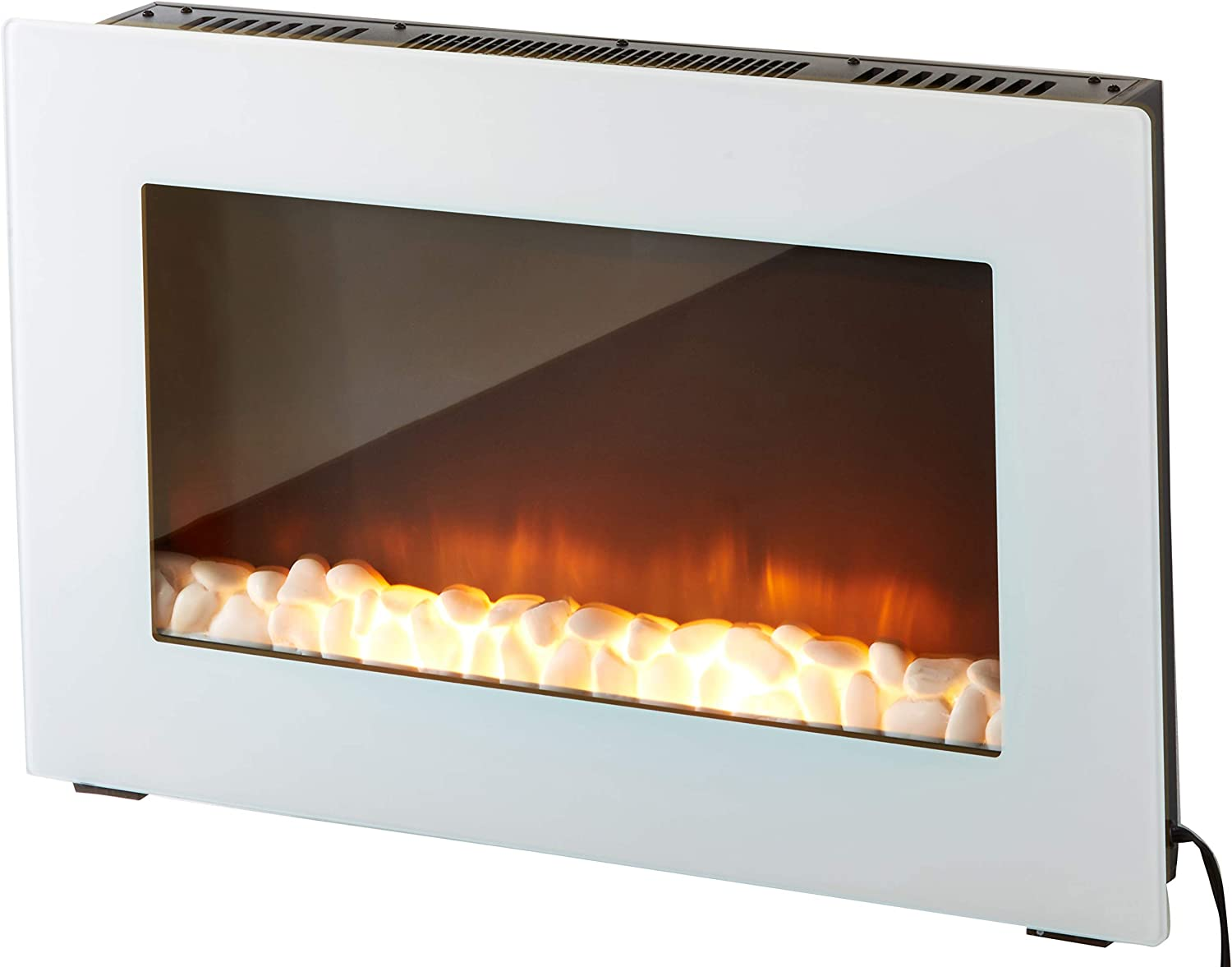 Cambridge Callisto 30 In. Wall-Mount Electric Fireplace in White with Crystal Rock Display