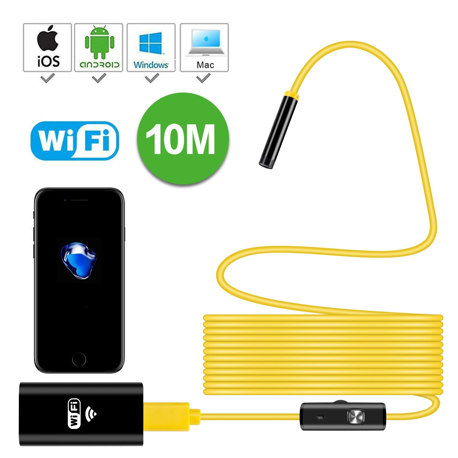 Newest Wireless Endoscope, 10M WiFi Borescope Inspection Camera 2.0 Megapixels HD Snake Camera for Android and iOS Smartphone, iPhone, Samsung, Tablet … (Yellow Soft) by YIERBLUE