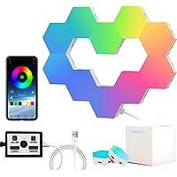 Hexagon Lights(10pcs) Sync with Music, Smart RGB LED Wall Lights, App Controlled, DIY Geometric Lamp/Night Lights for…