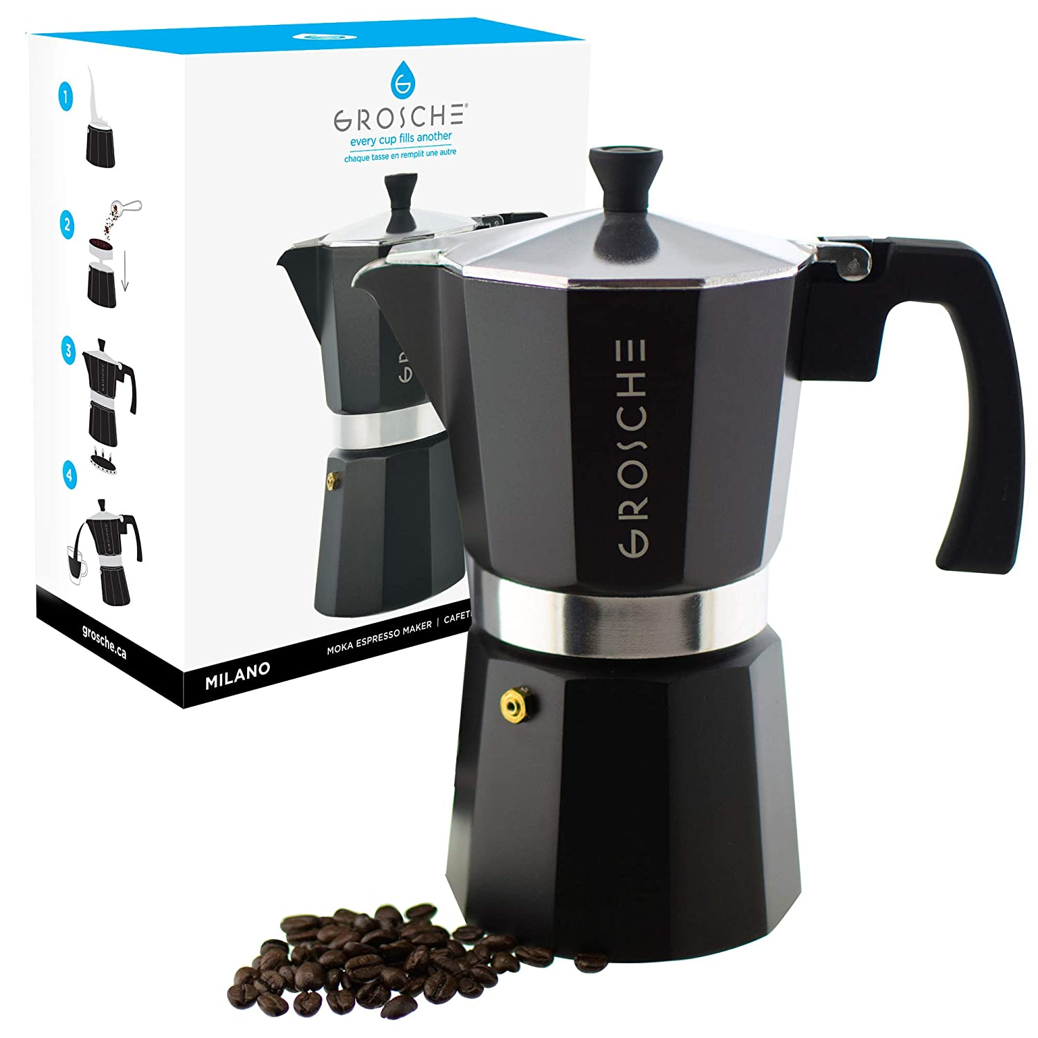 GROSCHE Milano Moka 9-Cup Stovetop Espresso Coffee Maker with Italian Safety Valve and Protection Handle, Black