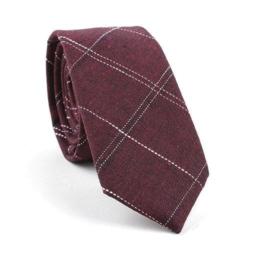 LUGEUK Corbata de algodón Hombre Jacquard Plaid Tie Corbata (Color ...