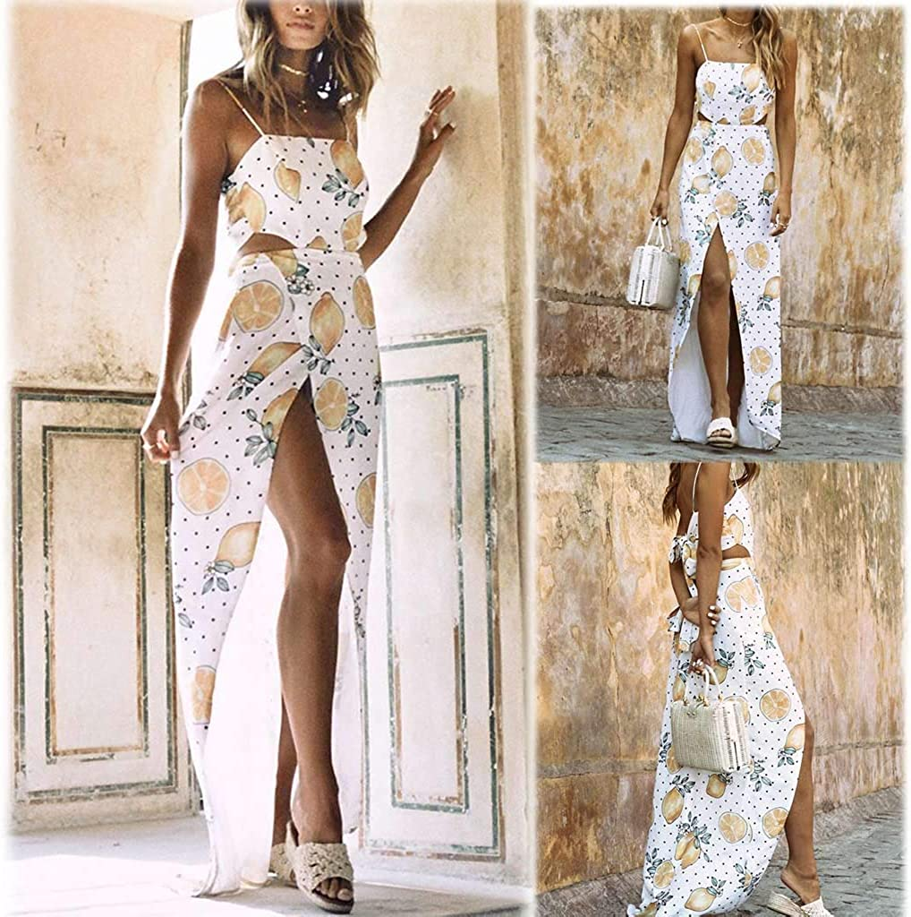 KESEELY Fashion Pineapple Print Long Dress Women Sleeveless Bandage Camis Long Fork Party Beach Dress