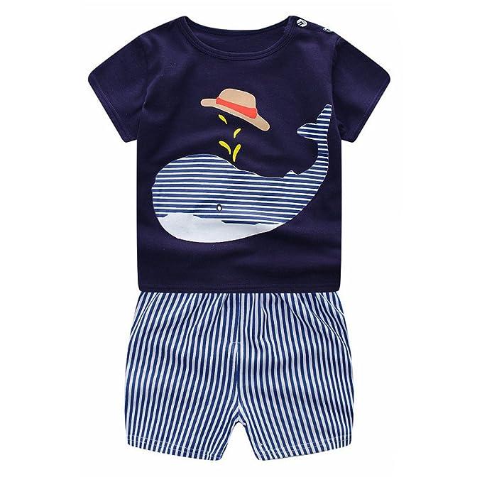 feiXIANG Bebé recién Nacido Traje de Primavera y Verano para niños niñas bebé niño niña de Manga Corta de Dibujos Animados Ballena Camisa + Pantalones ...
