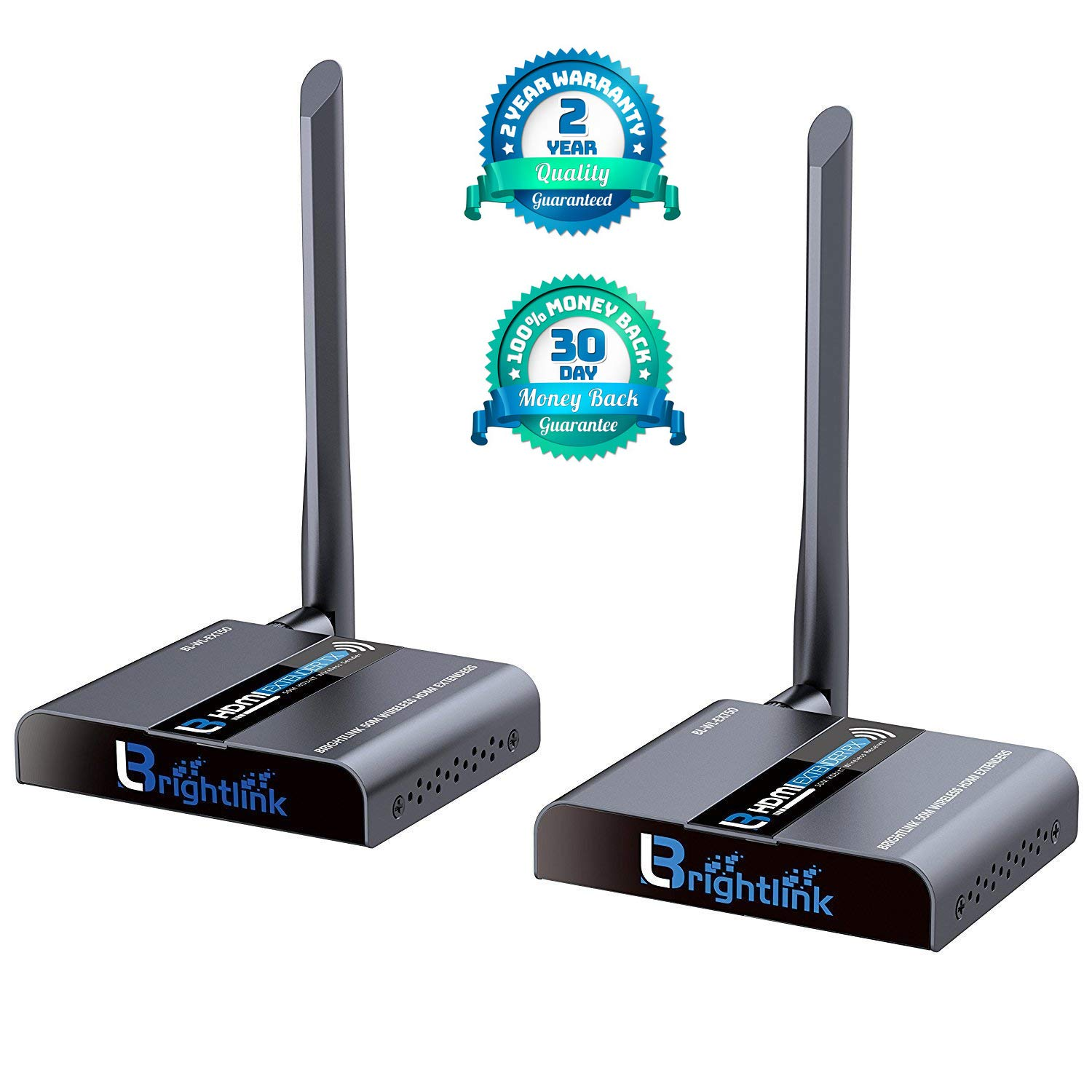 Brightlink New 50 M./ 164 Ft. HDMI Wireless Extender with Full HD 1080P @60Hz, Wide Band IR Passback & 5GHz Low Interference Frequency Range (Model # BL-WL-EXT 50) by Brightlink AV