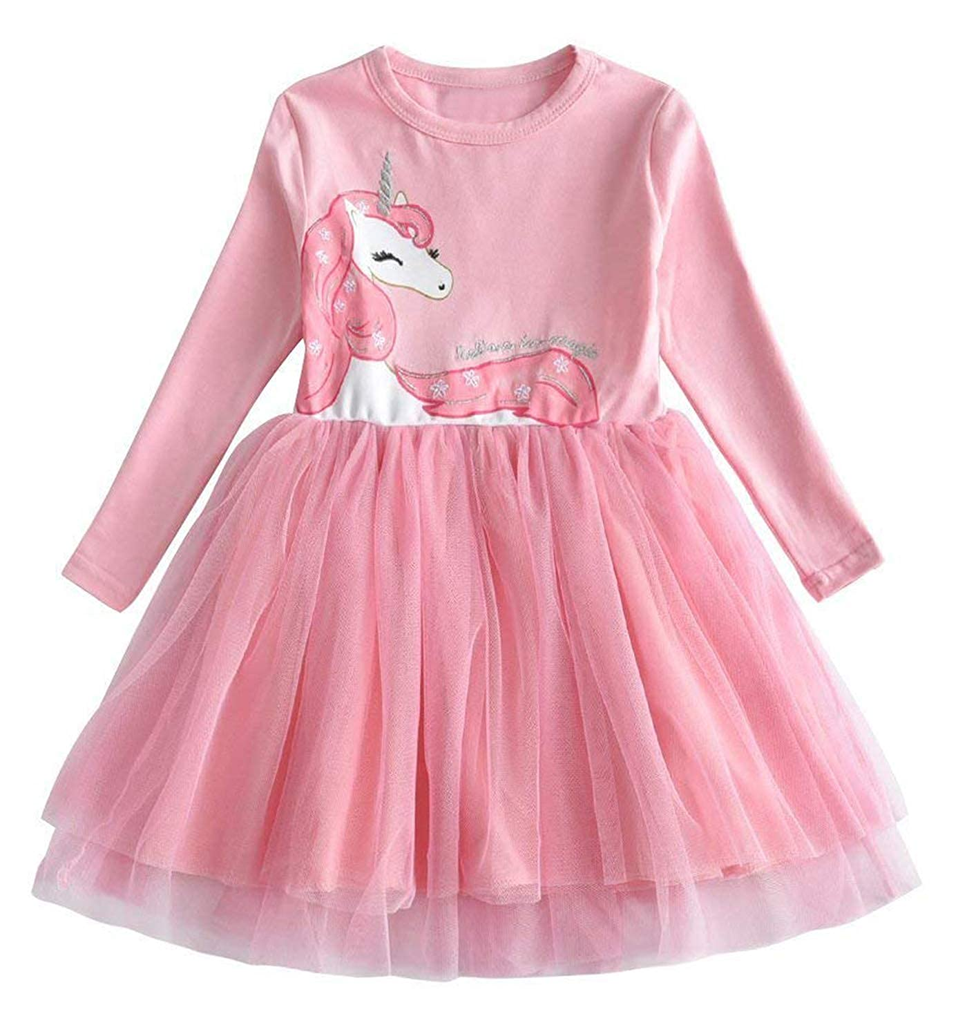TTYAOVO Toddler Girls Winter Clothes Long Sleeve Girls Dresses Kids 2-8 Years