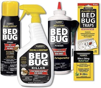 Amazon Com Harris Bed Bug Killer Value Bundle Kit 32oz Bed Bug Killer 16oz Aerosol Spray 4oz Bed Bug Powder W Brush 4 Pack Bed Bug Detection Glue Traps And Bed Bug Bite