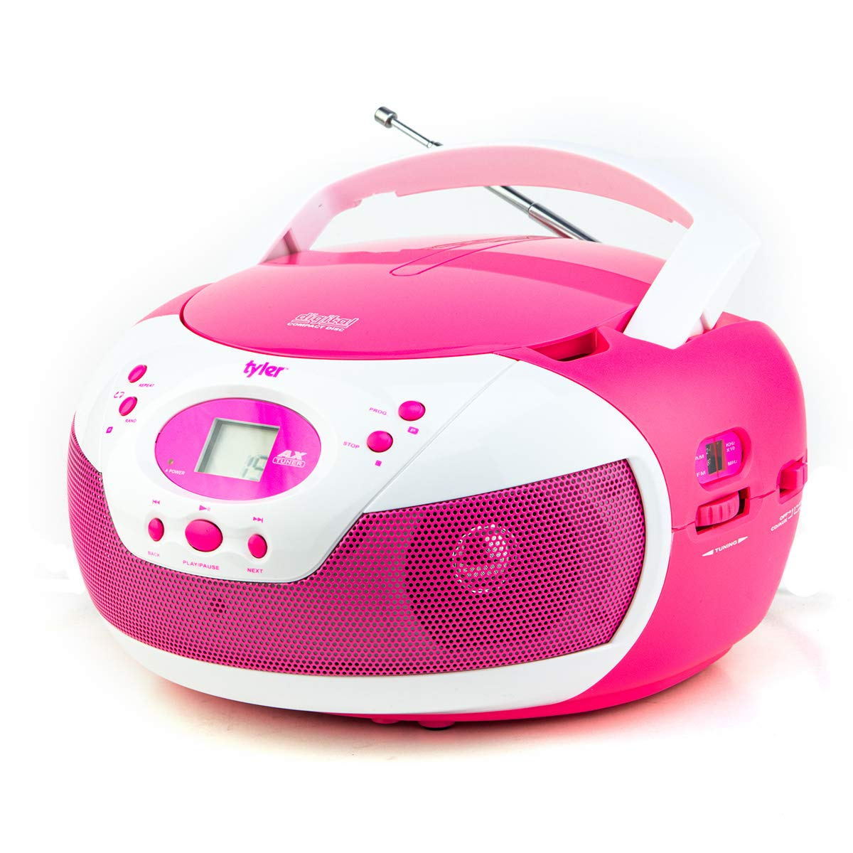 Tyler Portable Neon Pink Stereo CD Player with AM/FM Radio and Aux & Headphone Jack Line-in (TAU105-NPK) by Tyler