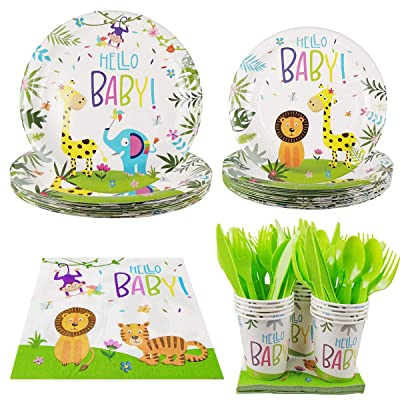 Cieovo Zoo Jungle Animal Party Supplies - Serves 16 Guest Includes Party Plates, Spoons, Forks, Cups, Napkins Party Pack Perfect for Safari Animal Themed Birthday Shower Parties: Toys & Games