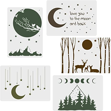 3pcs Reusable Stencils Shooting Stars Moon Apollo Sun Starry Cosmo Night Template Stencil Journal for DIY Scrapbook Drawing Painting Project