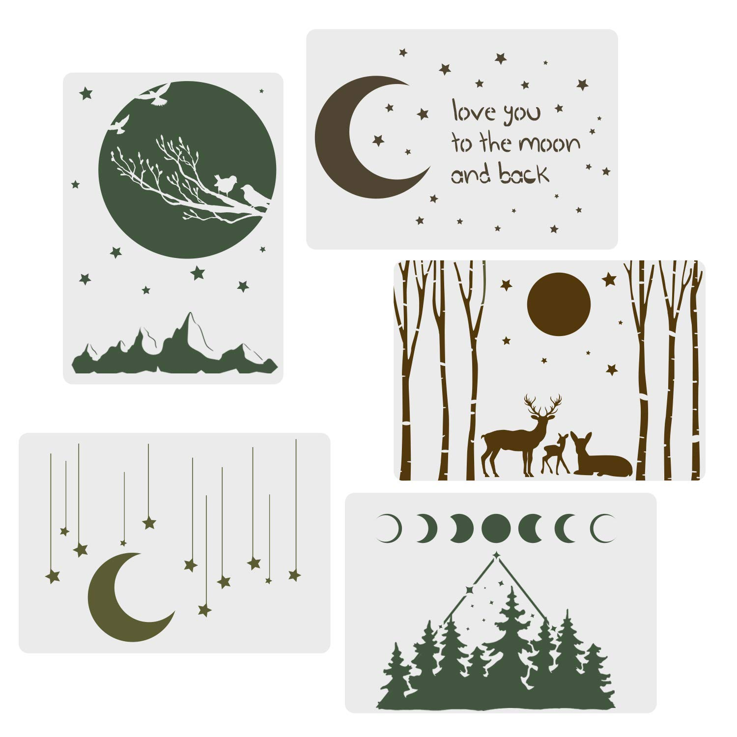 CODOHI 5 Packs Moon Stars Stencils - Night Sky Elk Forest Pattern Moon Phase A4 Art Reusable Mylar Template for Journaling, DIY Home Decor 11.7''x 8.26'' by CODOHI