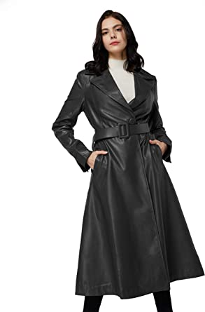 Fashion Womens Lapel Outerwear Long Overcoat Maxi Belt Trench Coat Slim Fit New