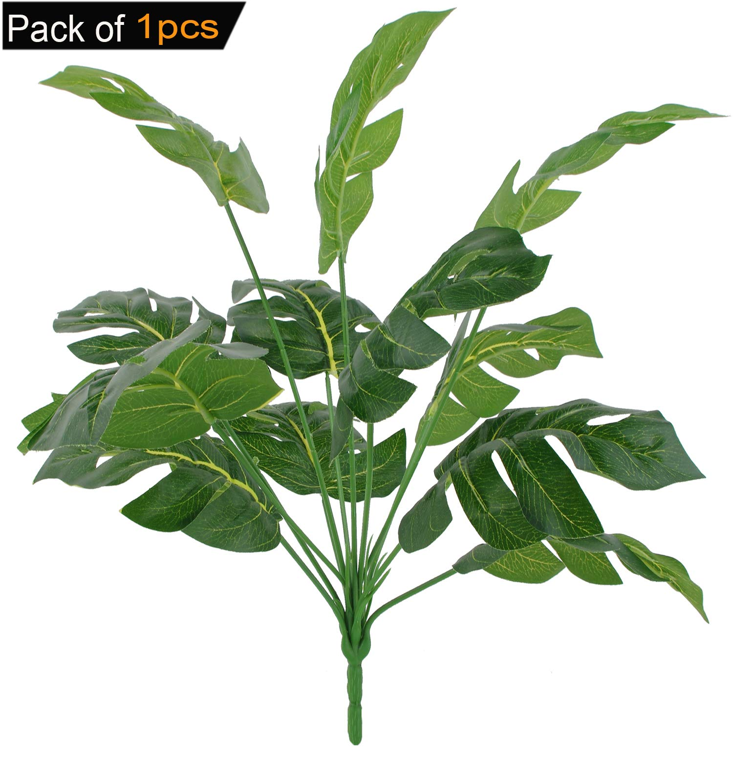 CLONG Artificial Plant Monstera Faux Shrubs Plastic Fake Flowers Filler Bushes UV Resistant Indoor Outside Window Box Greenery Home Garden Green Verandah Office Bonsai Wedding Decor - 1pcs