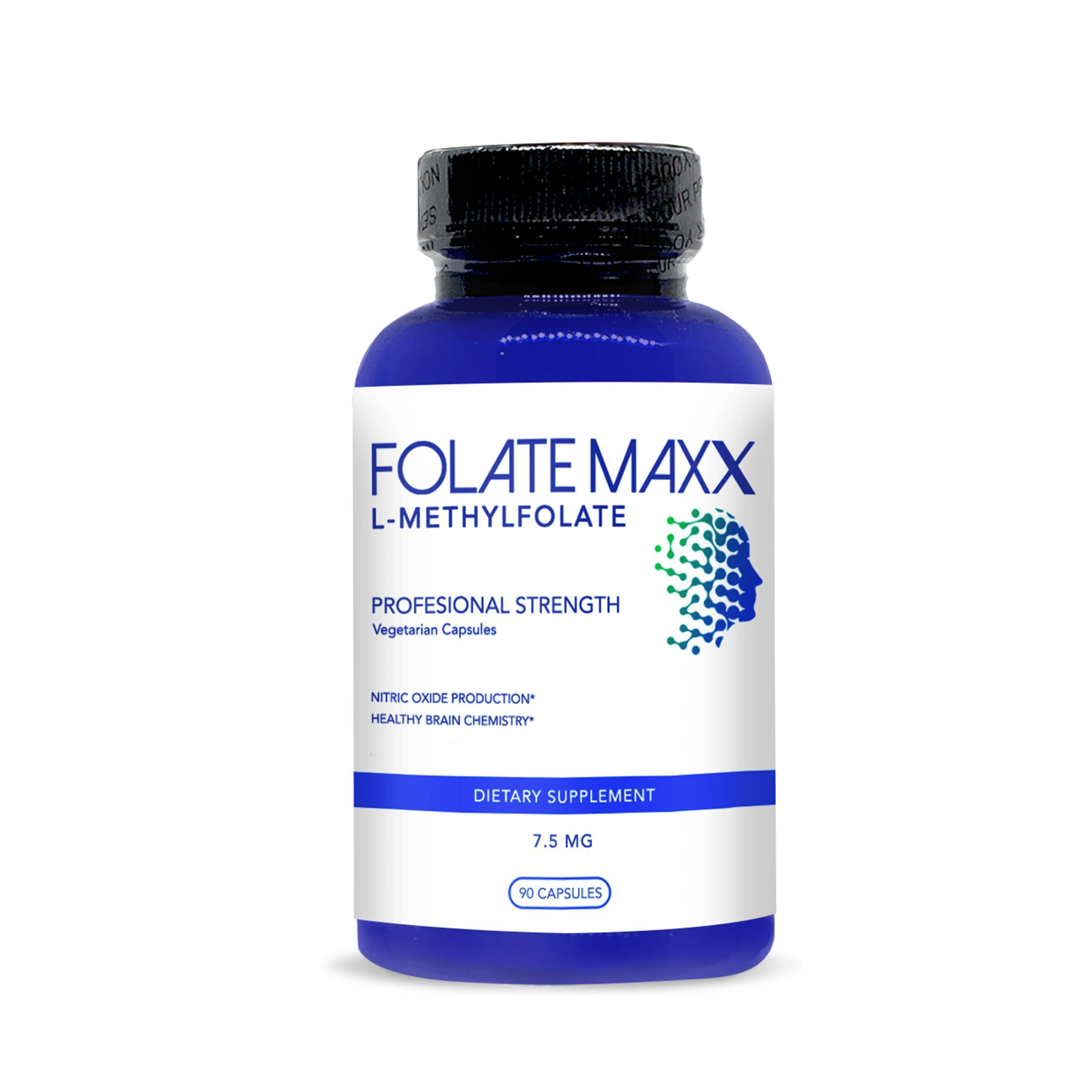 FolateMaxx L-Methylfolate 7.5 mg (90 Capsules)] Professional Top Quality Active Folate ] Non-GMO, Gluten Free ] Methyl Folate, 5-MTHF