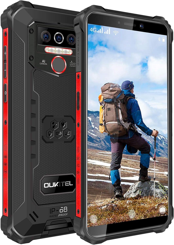 OUKITEL WP5 Pro (2021) Rugged Smartphone, 8000mAh Battery 4GB +64GB Android 10 Unlocked Cell Phones IP68 Waterproof 4G LTE Dual SIM Triple Camera 5.5 HD+ Global Version Face ID Fingerprint GPS