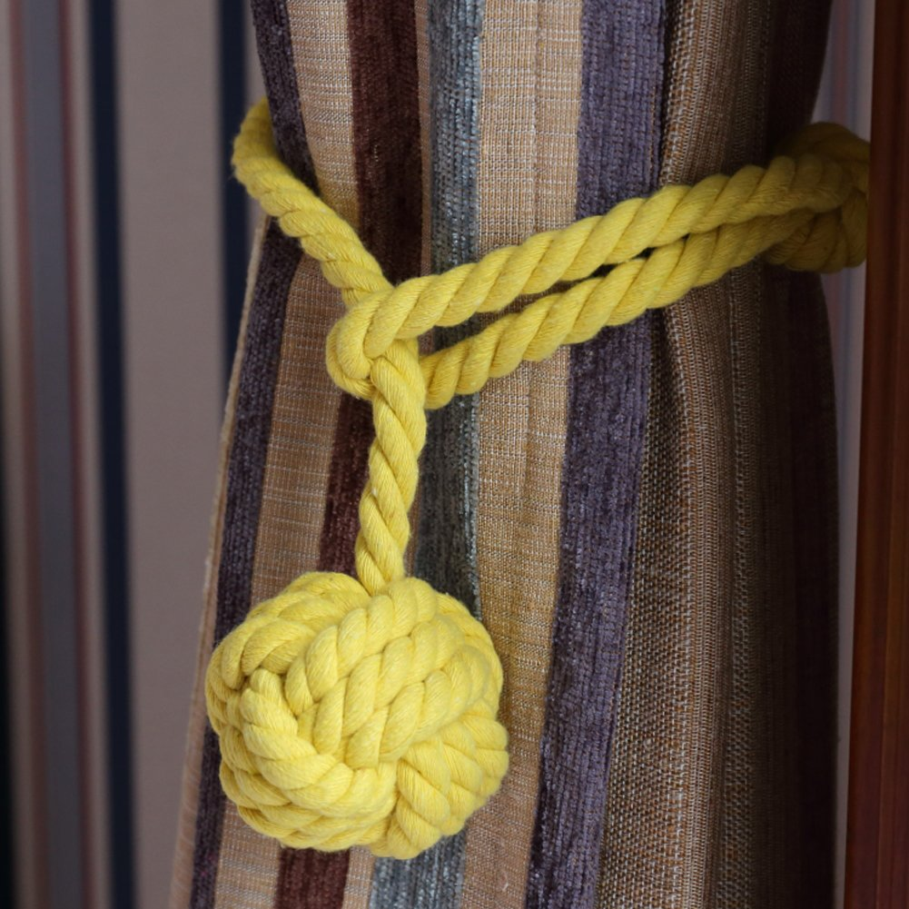 Yeexue American Hand Knitting Curtain Rope Tiebacks Rural Cotton Tie (One Pair, Yellow)