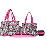 SoHo Collection, Pink Zebra 6 pieces Diaper Bag setLimited time offer !