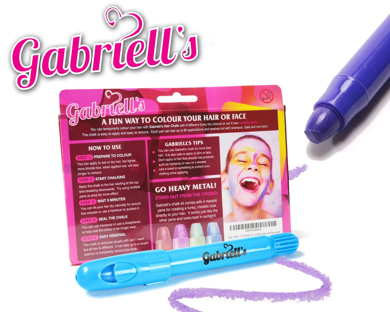 Hair Chalk Pens - Gabriells 12 Hair Color Pen Set & Face Paint Kit- Non Toxic wax - Best Gift for Girls, Boys, Children, Men and Women - Temporary Colors by Gabriells