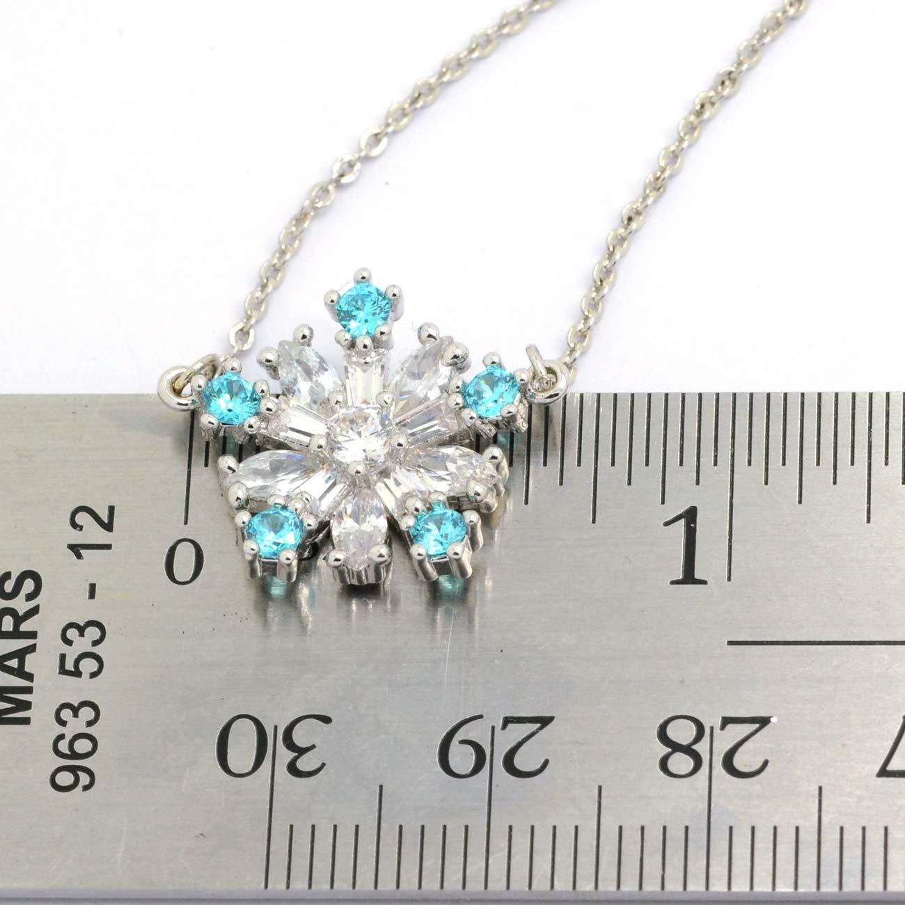 16+2in Sparkly Bride Snowflake Pendant Necklace CZ Aqua Blue Baguette Women Fashion