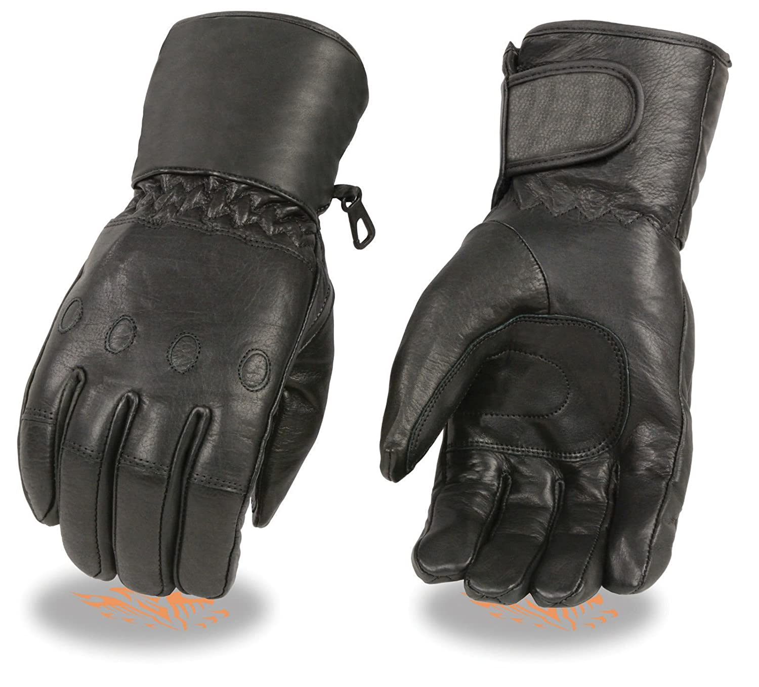 Motorcycle Mens guantlet gloves with cinch wrist Long soft leather waterproof