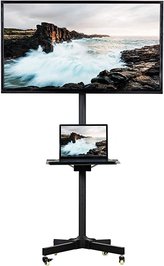 VIVO Mobile TV Cart for 23-55 inch LCD LED Plasma Flat Panel Screen TVs up to 55 lbs | Pro Height Adjustable Rolling Black Stand with Laptop Shelf