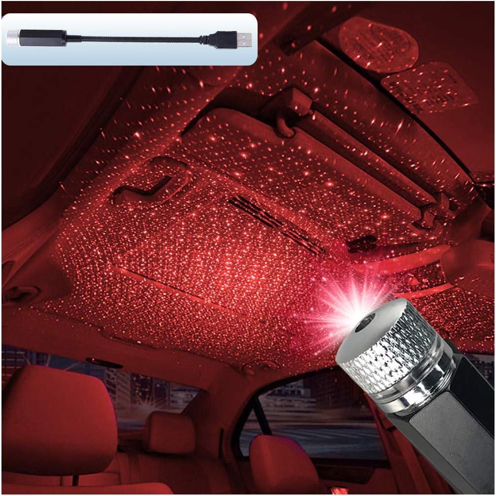 Indigo Blue-2PACK Auto tetto stella atmosferica luci LED USB Night Lights Proiezione Ambiente Interni Lampada per Anniversario Festa