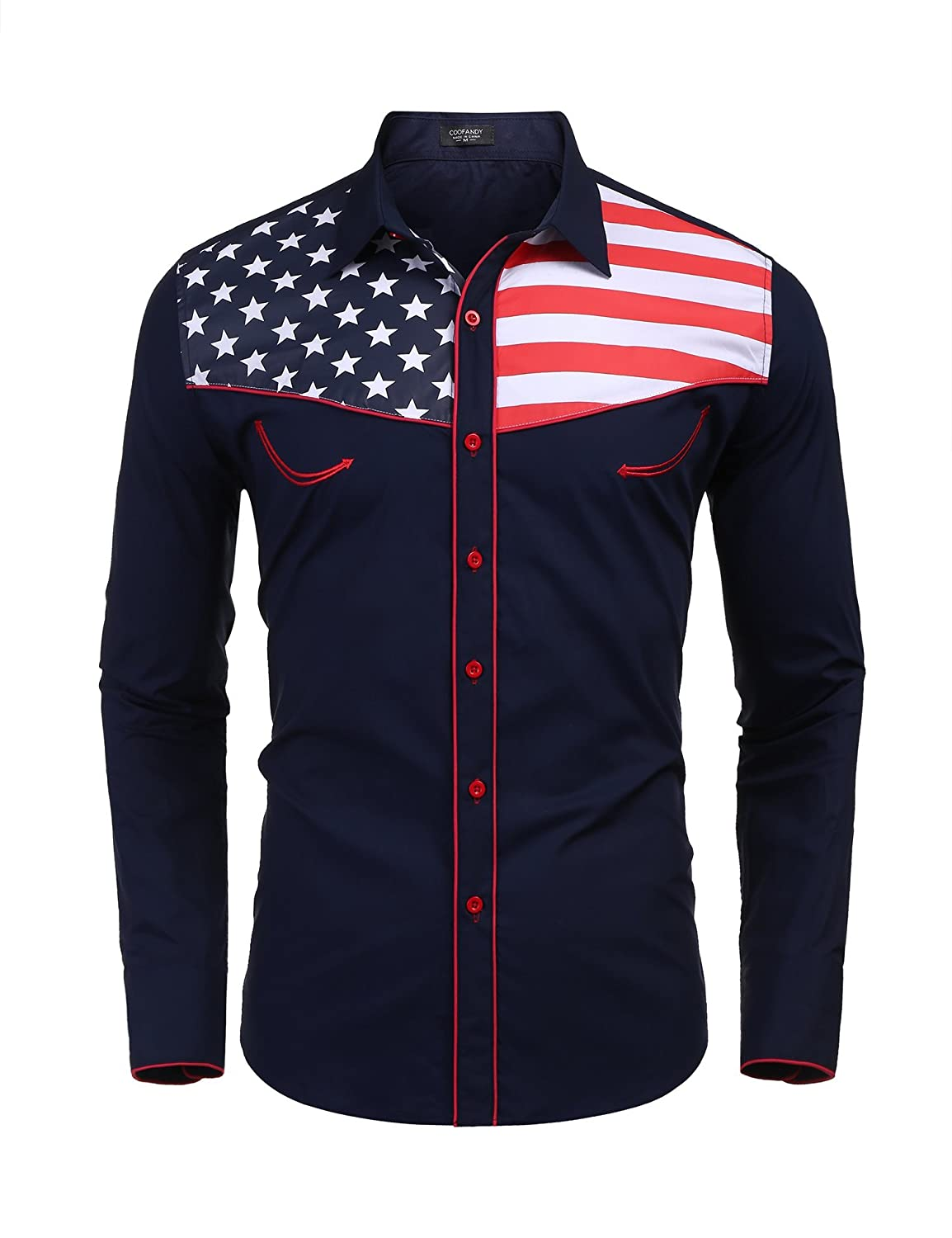 COOFANDY Mens American Flag Shirts Casual Long Sleeve Western Button Down Shirt Large, Blue