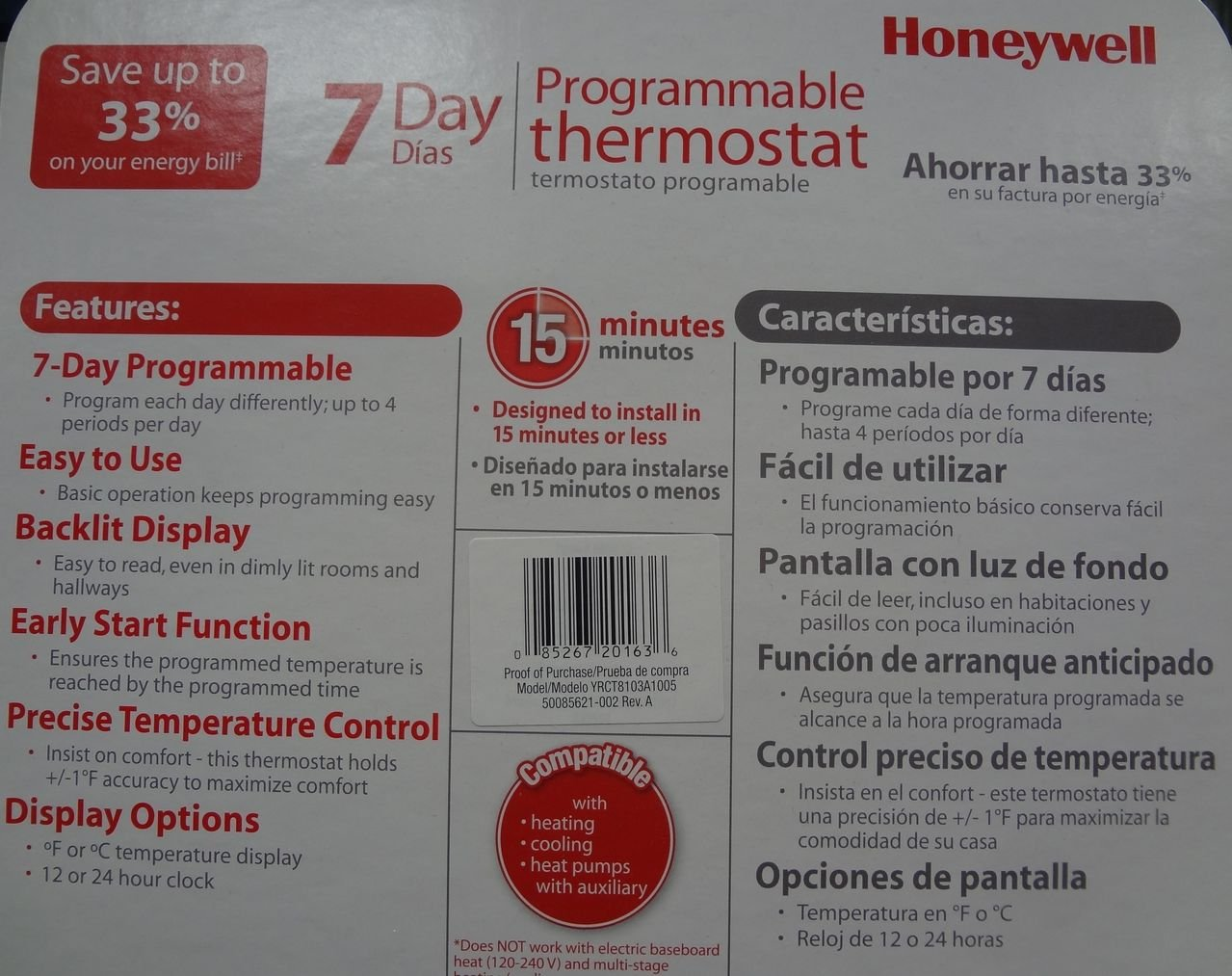 Honeywell 7 Day Programmable Thermostat - - Amazon.com